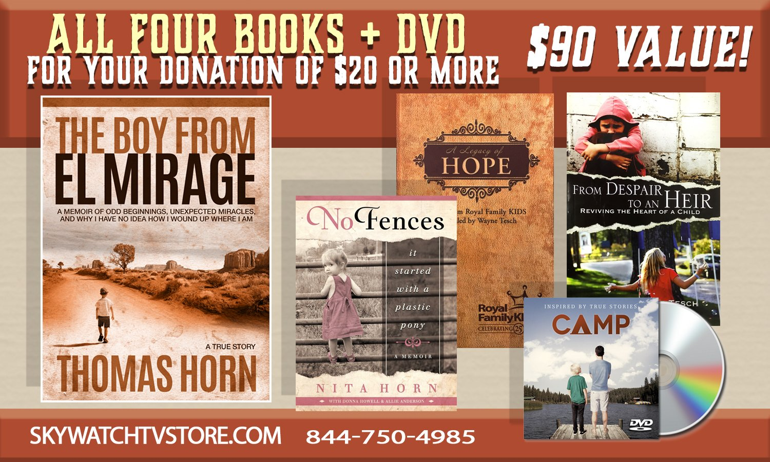 YOURS FOR ANY DONATION OF $20.00 OR MORE — LEARN THE SECRET TRUE STORY BEHIND DR. THOMAS HORN'S LIFE PLUS RECEIVE 4 BOOKS & DVD MOVIE!