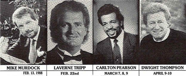 Old newspaper clipping from 1988—featuring a week of speakers at the church where Thomas and Nita Horn pastored—includes Carlton Pearson
